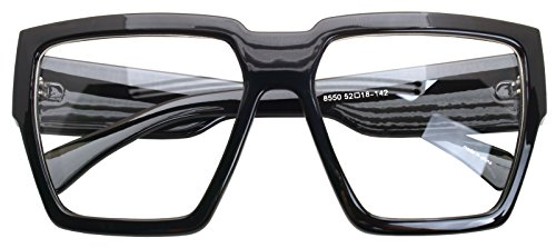 Oversized Square Thick Horn Rimmed Eyeglasses Vintage Inspired Geek Clear Lens (Black 85504, Clear)