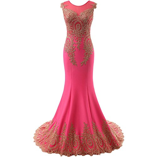 4678d1c51b3b Lemai Women's God Lace Mermaid Sheer Sweep Train Formal Long Prom Evening  Dresses Fuchsia US20W