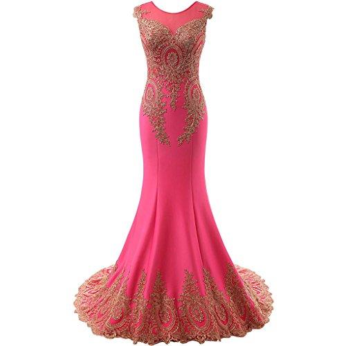 Trumpet Sweep - Lemai Women's God Lace Mermaid Sheer Sweep Train Formal Long Prom Evening Dresses Fuchsia US20W