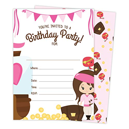 Pirate Birthday Party Invitation - Pirate Girls 1 Happy Birthday Invitations Invite Cards (25 Count) With Envelopes and Seal Stickers Vinyl Girls Kids Party (25ct)