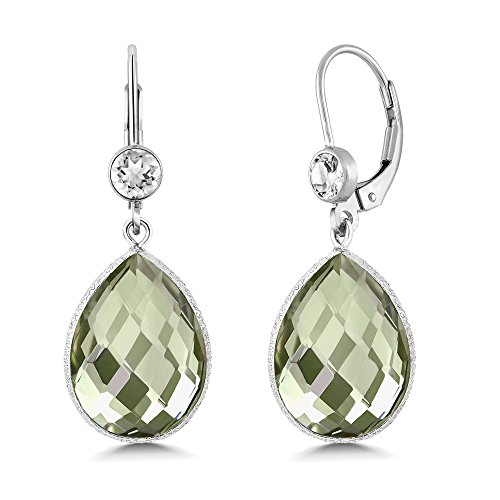 Gem Stone King 13.00 Ct Purple and Green Amethyst 16x12mm Pear Shape 925 Silver Dangle Earrings