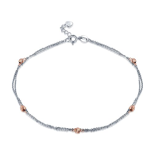 MaBelle 14K Rose and White Gold Rose Beads Double Anchor Chain Anklet (14k White Gold Anchor Chain)