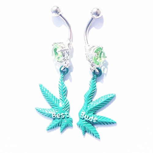 WOWOHE A Pair Silver Bar Green Leaves Best Friends 14g Belly Button Navel Ring Body Piercing Jewelry