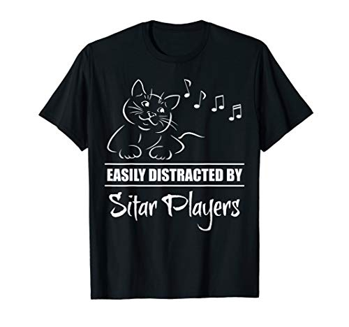 Curious Cat Easily Distracted by Sitar Players Fun Whimsical T-Shirt