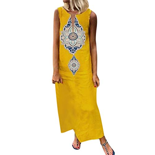 Zlolia Women's Bohemian Floral Prints Ethnic Style Vest Dresses Sleeveless V-Neck Split Maxi Straight Dress Summer Skirt Yellow