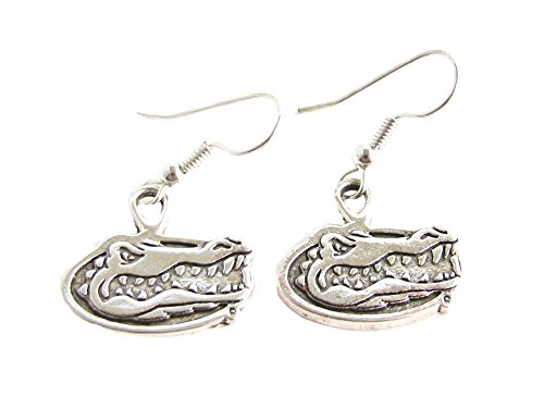 Florida Gators UF Gator Head Charm Silver Fashion French Hook Earrings Jewelry (Silver Head Gator)