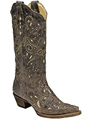 Corral Womens Brown Crater Bone Inlay and Studs Western Boot