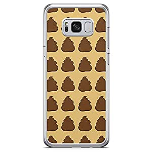 Samsung Galaxy S8 Transparent Edge Phone Case Poop Pattern Phone Case Emoji Samsung S8 Cover with See through edges