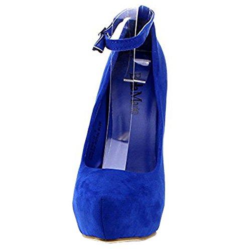 Bellamarie Helena-12 Femmes Cheville Sangle Plate-forme Pompe Stiletto Robe De Soirée Talon, Couleur: Bleu Roi, Taille: 5.5