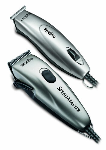 Andis Professional PivotPro SpeedMaster Hair Clipper and Beard Trimmer Combo, Silver, Model PM-1/PMT-1 -
