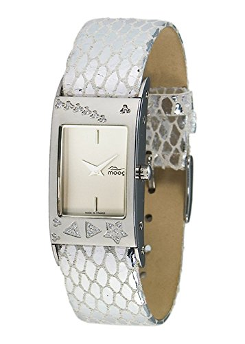 Moog Paris - Time to Change - Women's Watch with silver dial, silver strap in Genuine calf leather - Interchangeable strap - Made in France - M45011-001
