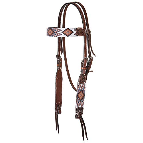 Circle Y Infinity Bead Browband Headstall BRN/Wht