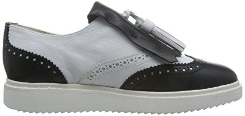 de Cordones Mujer Blanco Thymar C White Geox D Blackc0404 Oxford Zapatos para qfgX4Iw
