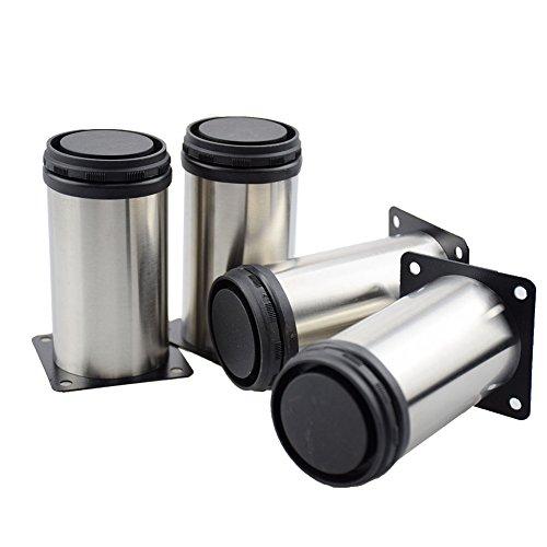 Xmada Metal Cabinet Furniture Legs Stainless Steel Cabinet Feet Adjustable Kitchen Feet Round (50 x 100 mm)