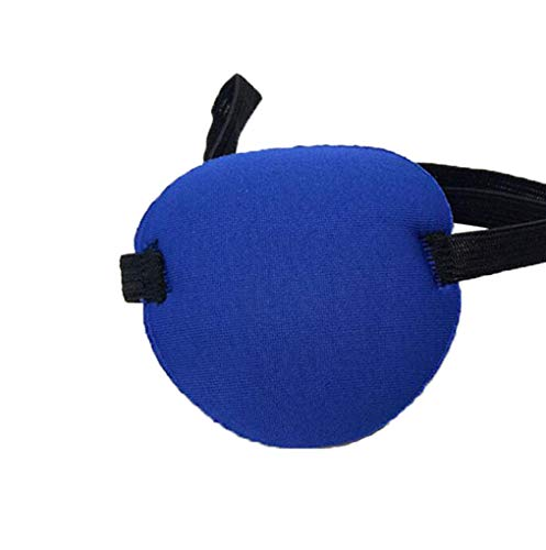 - 2PCS Single Concave Shaped Adjustable Amblyopia Corrected Visual Acuity Recovery Eye Patch Mask Eye Cover Pads Eyepatch with Buckle for Adults and Kids Lazy Eye Strabismus(Blue)