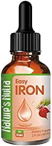 Nature's Nutra Easy Iron, 2 Fl. Oz (60ml), Premium Baby and Infant Liquid Drops, Toddlers Kids Children Multivitamin Supplement, Ferrochel, Anemia, Hemoglobin