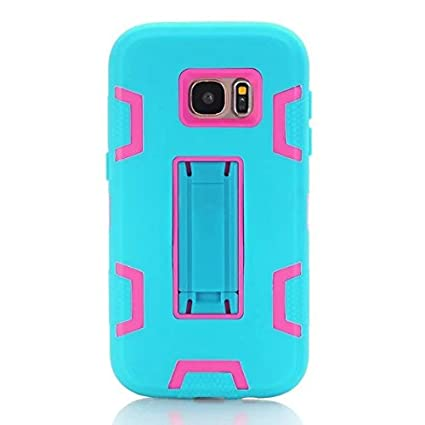 Samsung Galaxy S7 Case,Tough TPU +PC Three in One Phone Case for Samsung  Galaxy S7 back Cover With KickStand (Green&Pink)
