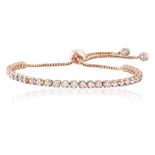 Mia Sarine 3mm Round Cubic Zirconia Adjustable Bolo Tennis Bracelet for Women in Rose Gold Plated Brass (Pink)