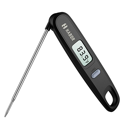 Habor Instant Read Meat Thermometer Digital Cooking Thermometer with Magnetic Attachment, Haning Hole and 4.8 Inch Foldable Long Probe for Grill, Candy, BBQ, Coffee , Tea, Milk, Burger
