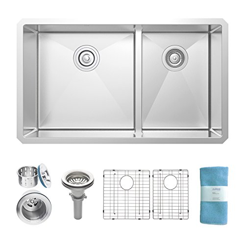 Zuhne 32 Inch Undermount 60/40 Low Divide Double Bowl Hybrid 16 Gauge Stainless Steel Kitchen Sink (Bowl Double Sink)