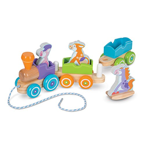 - Melissa & Doug First Play Wooden Rocking Farm Animals Pull Train