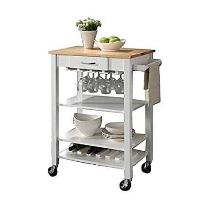 Merveilleux Coaster Home Furnishings Kitchen Cart With Butcher Block Top Natural Brown  And White