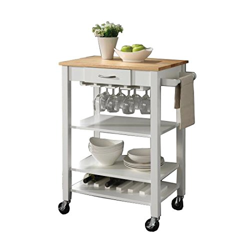 Coaster Home Furnishings Kitchen Cart with Butcher Block Top Natural Brown and White Review