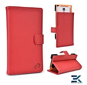 [Matrix] PU Leather Universal Book Folio Phone Cover fits Sony Xperia Z1 Compact Case - RED. Bonus Ekatomi Screen Cleaner