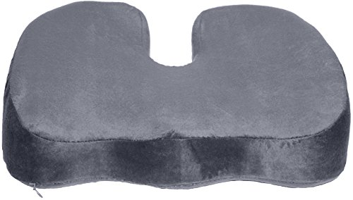 Coccyx Orthopedic Gel-Enhanced Comfort Foam Seat Cushion Ergonomic Wedge For Lower Back Pain, Grey (Healthy Back Wedge)
