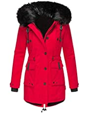 Darringls Regenjassen voor dames, overgangsjas, lang, outdoorjas, katoen, winterjack, warm gevoerde windbrekers, dikke softshelljas, past winter jas, parka, mantel