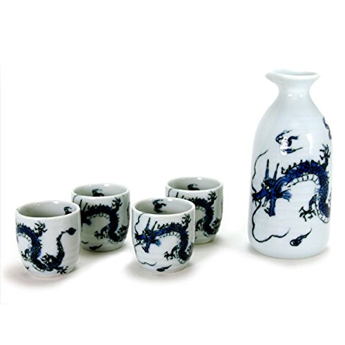 5 Pieces of Japanese Porcelain Sake Bottle & Cups Gift Set in Blue Ryu Fortune Dragon Design