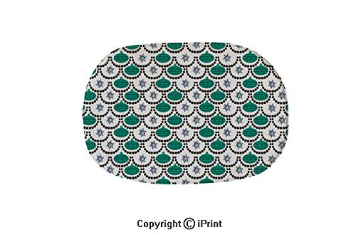 (Soft Oval Bath Mat or Rug Place in Front of Shower,Vanity,Bath Tub,Sink and Toilet,Christmas Seamless Pattern With Snowman Christmas Ball Snowflake Vector Holiday Background For Wallpaper Wrapping Chr)