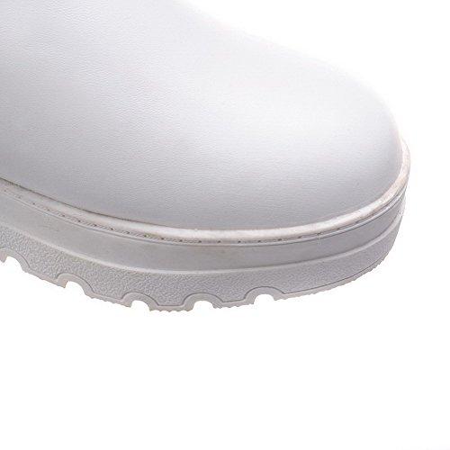 AllhqFashion Damen Rein Niedriger Absatz Rund Zehe PU Leder Reißverschluss Stiefel Weiß