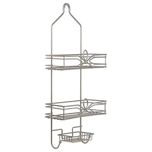 Richards Homewares Aria Shower Bathtub Caddy - Satin Nickel Finish - Over The Showerhead Spacesaver - 2 Large Wired Shelves - Built In Soapdish with 2 Hooks