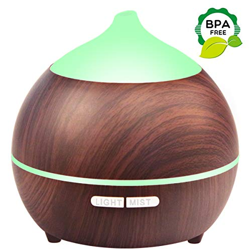 Essential Oil Diffuser, 250ml Aromatherapy Diffuser for Essential Oils, Ultrasonic Diffuser Wood Grain, Waterless Auto Shut off, 7 Colors Light (1 pack) (Best Ultrasonic Aromatherapy Diffuser)