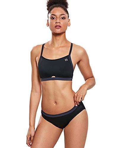 (SYROKAN Women's Athletic Swimsuit Workout Sport Bikini Two-Piece Swimwear Dark Black XL)