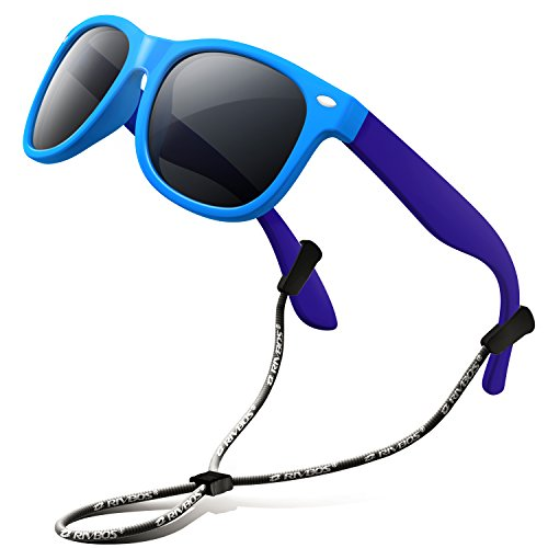 RIVBOS Rubber Kids Polarized Sunglasses with Strap Glasses Shades for Boys Girls Baby and Children Age 3-10 RBK004 (Blue&Blue)
