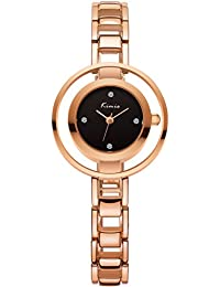 Voeons Women's Rose Gold Stainless Steel Watch With Black Dial
