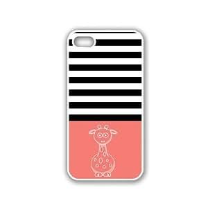 Giraffe Black Stripes & Coral White iPhone 5 Case - For iPhone 5/5G - Designer PC Case