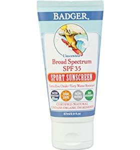 Badger Sport Sunscreen Cream SPF 35 Unscented