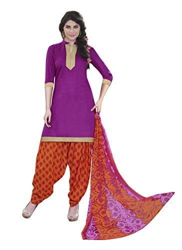 Miraan Women's Cotton Unstitched Salwar Suit (NEWRani11008-100, Purple, Free Size)