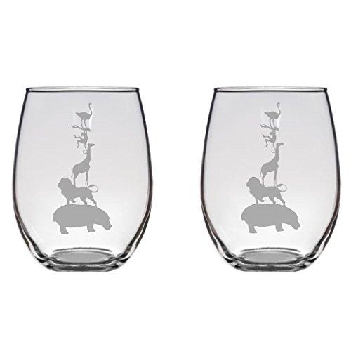 Stacked Safari Animals Engraved Wine Glass Pint Glass, Mason Jar, Champagne Flute, Gift Hippo Lion Giraffe Monkey Ostrich (Animals Stacked)