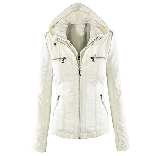 Women Jacket Hot Turn Down Collor Ladies Zipper Outerwear Jacket Coat White 4XL ()