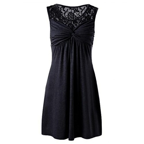 iHPH7 Dress, Women Summer Solid O Neck Sleeveless Lace Floral Patchwork Bow ()