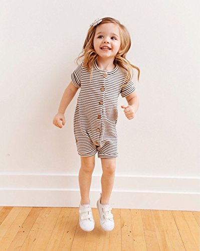 Urkutoba Baby Girls Romper Knitted Ruffle Long Sleeve Jumpsuit Baby Kids Girl Romper Autumn Winter Casual Clothing (0-6 Months, Striped&Buttons) by Urkutoba (Image #2)