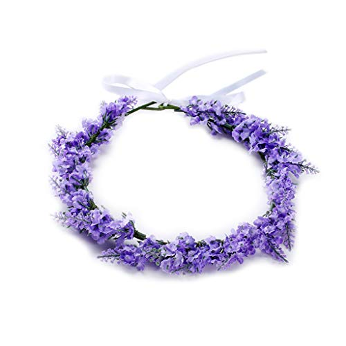 Flower Headband Lavender Floral Hair Band Garland Tiara Crown Women Jewelry Headdress Decoration Fashion Dreamlike For Wedding Party Prom -