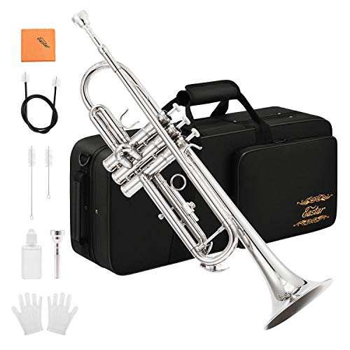 Eastar ETR-380N Trumpet Standard Bb Nickel Trumpet Set For Student Beginner With Hard Case,Gloves, 7 C Mouthpiece, Valve Oil and Trumpet Cleaning Kit