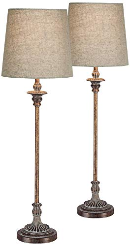 Bentley Traditional Buffet Table Lamps Set of 2 Weathered Brown Ridged Linen Fabric Drum Shade for Dining Room - Regency - Lamp Brass Candlestick Table Antique