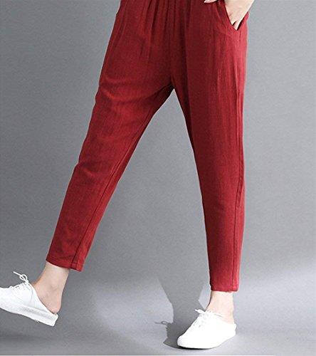 Tiempo Battercake Mujeres Rot Pantalon Color Libre Taille Verano Anchas Lino Harem Mujer Pluderhose Elastische Hippie De Cómodo Casuales Vintage Sólido Pantalones vvW1Fn