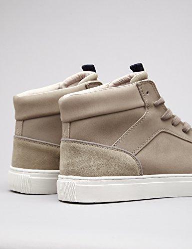Grey FIND a Sneaker Uomo Alto Collo Pelle Grigio in 8xB8aPnrO
